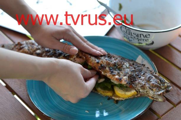 салат в рыбу гриль